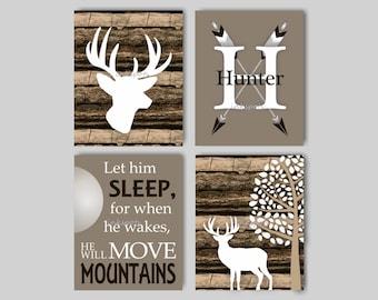 Baby Boy Nursery Art Rustic Nursery Art Deer Nursery Bedding Decor Woodland Nursery Let Him Sleep Camouflage Deer Print Choose Colors WD4425