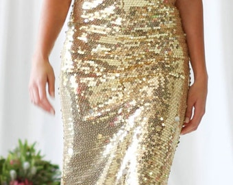 Gold sequin prom dress/ gold reception dress/ sequin bridesmaid dress/ sequin prom dress/sequin wedding dress/ gold wedding dress/ backless