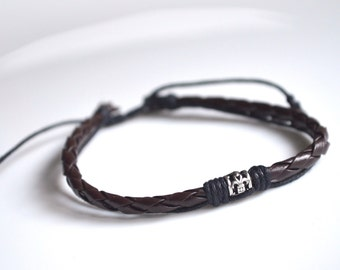 Bracelet small pearl brown leather silver