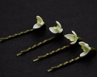 Hair Pins (SET 4), snowdrop hair pins, hair accessories, hairpins for children, bobby pins, snowdrop hair flower