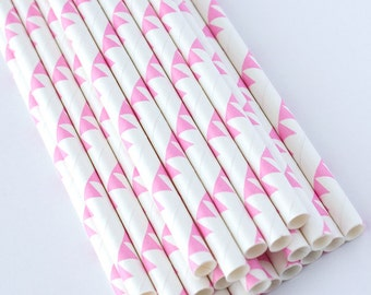 Light Pink Party Bunting Paper Straws (25 Count) - First Birthday, Baby Shower, Circus, Carnival, Cake Pops