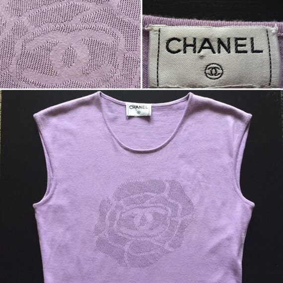 Chanel Authentic Cc Logo Lilac Camellia Vintage Sleeveless