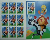Unused Postage Stamps - Tweety And Sylvester Stamps for Postage or for Scrapbooking, Jewelry, Decoupage, Paper Crafts, Collage and More...