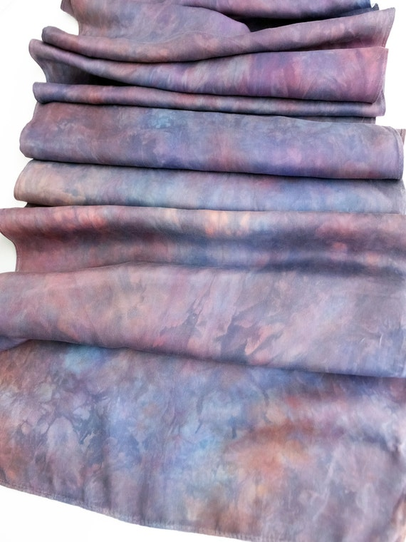 "Perwinkle silk scarf - china silk - habotai silk - coral pink, purple, blue grey, teal - hand dyed - 13 x 70"" - OOAK"
