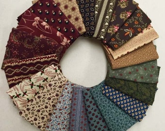 20 Civil War Reproduction Quilt Fabric Fat Quarter Bundle