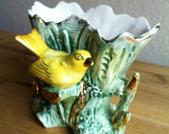 A Porcelain Vase With A Tropical Yellow Bird With A Sticker That Reads Ucagco Ceramics Japan