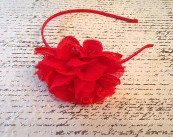 Red fabric lace flower hard headband