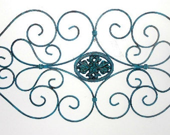 Wall Topper, Upcycled, Distressed, Teal, Black, Hand Painted, Shabby Chic, Eclectic, Wall Decor, Metal