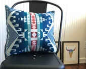 Tribal Pillow Cover in Pendleton Wool, Blue pillow, Lake house pillow, bohemian Pillow Cover, Southwestern pillow, native pillow
