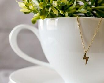 Gold Lightning Bolt Necklace, Dainty Gold Necklace, Layering Necklace, Edgy, Gold Charm Necklace, Gold Lightning Bolt, Delicate Necklace,