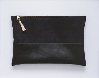 Vegan Suede Black Leather Pouch With Tassle