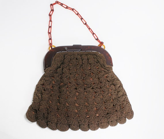 1930s Handbags and Purses Fashion Vintage Bakelite Faux Tortiseshell and Crochet Evening Bag- 1930s Purse $58.50 AT vintagedancer.com