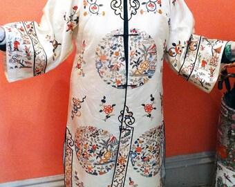 Antique Embroidered Coat Chinese Silk Hand Needlework Circa 1900 Forbidden Stitch
