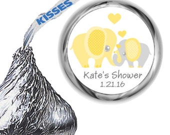 108 Elephant Yellow Baby Shower Hershey Kiss Labels