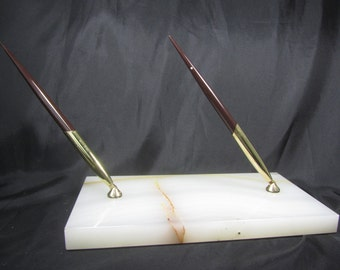 Pen Holder, Desk Decor,pen And Ink, Office Decor, Marble Slab,