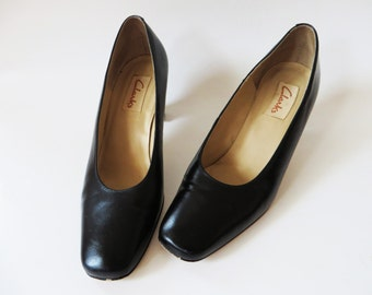 Black Leather Shoes Clarks High Heel Shoes Square Toe Shoes Black Women Shoes Black Chunky Shoes Closed Toe Shoes US 7 / EUR 37 / UK 4.5