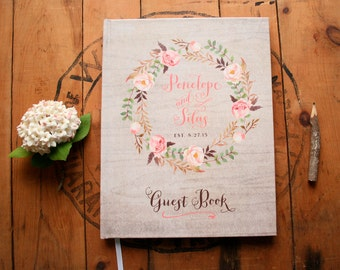 Boho Guest Book - Wedding Guestbook - Floral Guest Book - Custom Guestbook - Rustic Bohemian Wreath Keepsake - 8 x 10