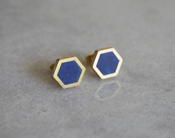 HEXAGON stud earrings - geometric - by STICKTAILS