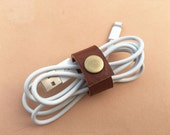leather cord keeper - ear bud cord holder - cell phone cord organization - leather cord organizer