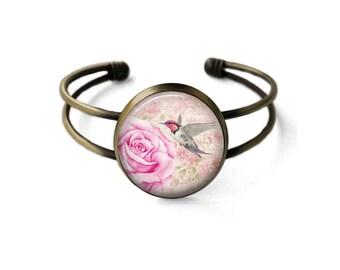Vintage Pink Rose Cuff Bracelet