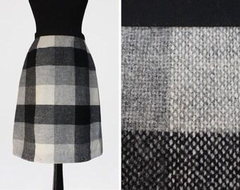 Monochrome 1960s Wool Check Skirt