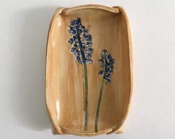 Grape Hyacinth Flower Ceramic Dish For Soap, Food, or Everything Else, Symbol of Creativity