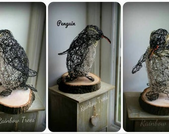 Penguin wire art ,Christmas winter theme,rainbow trees nature animals