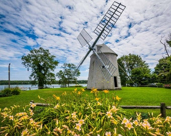 Gardens and the Jonathan Young Windmill, in Orleans, Cape Cod, Massachusetts. | Photo Print, Stretched Canvas, or Metal Print.