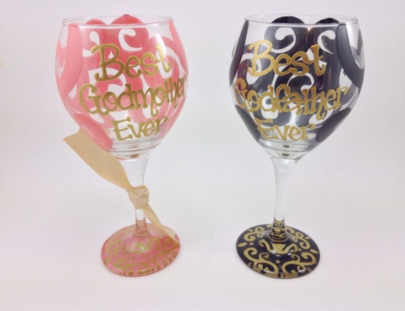 SET OF 2 Best Godmother Godfather Ever Wine Glass By ArtiSmith