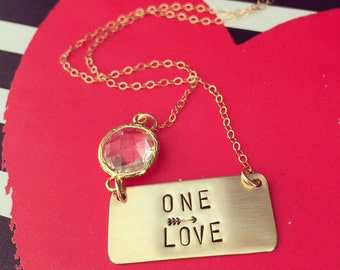 ONE Love Stamped Brass Bar Necklace Valentines Gift Love Gold Layering Custom Personalized