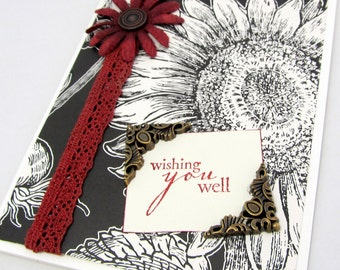 Sunflower Card - Wishing You Well - Ivory and Black - Striking - French Vintage - Blank Card - Burgundy Accents - Steampunk Embellishment