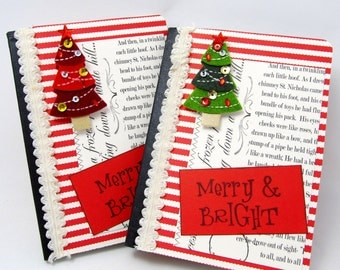 Christmas Tree Mini Journal - Merry and Bright Journal - Christmas Journal - Holiday Journal - Stocking Stuffer - Hostess Gift