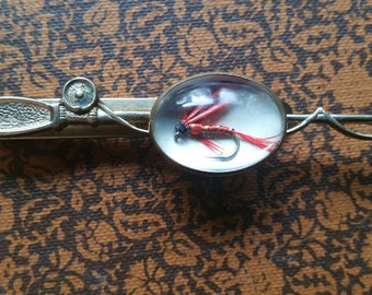 Vintage tie clip with fishing fly
