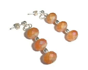 Fall Colors Earrings Crystal Fall Crystals earrings Crystal Earrings POST earrings crystal orange burnt orange czech glass silver post style