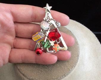 Vintage Christmas Tree With Dangling Charms Pin/Pendant