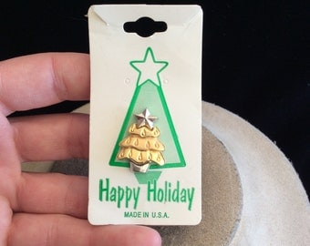 Vintage Two Tone Christmas Tree Tac Pin On Original Card