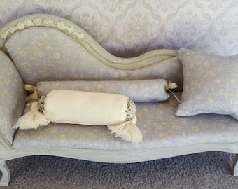 Miniature sofa and cushions 1:12 scale