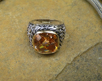 Artisan, Honey Topaz Heavy Sterling Silver Ring With 14Kt Gold Accent