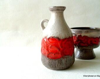 Vintage bottle vase from Strehla, East germany Mid Century Modern ceramics
