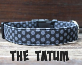 "Polka Dot Dog Collar for Boy Dog in Black ""The Tatum"" by Bullenbeisser"