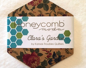 Clara's Garden Honeycomb by Kansas Troubles Quilters for Moda Fabrics, Precut Hexagons