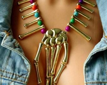 metal Punk Pendant Skeletons, necklace statement,  skeleton jewelry