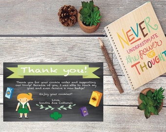 Printable Girl Scout Cookie Thank You Card Customizable