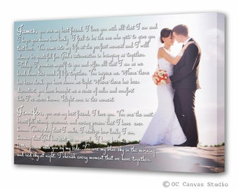 Custom print Wedding photo with Lyrics Vows Poem Cotton canvas print Wedding gift/ Anniversary gift Portrait wall decor