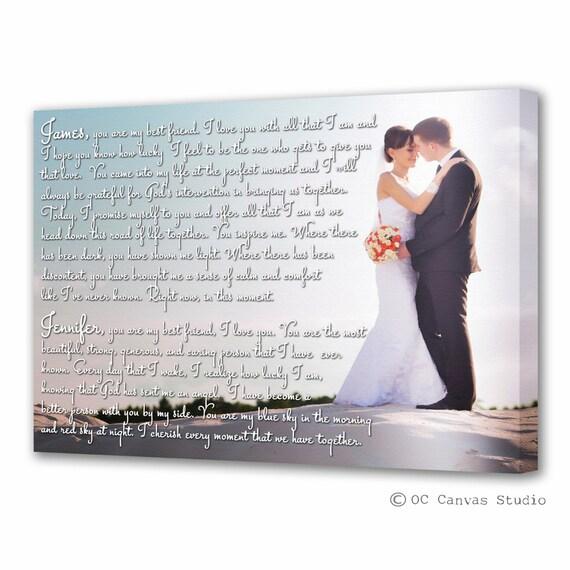 Custom Print Wedding Photo With Lyrics Vows Poem Cotton