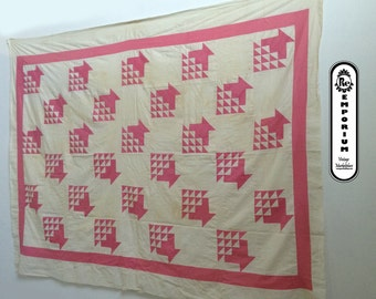 Vintage Handmade Quilt Top Pink & White Square Patches on White Background No. 2