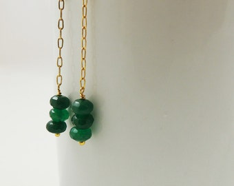 May Birthstone Green Gemstone Dangle Minimalist Earrings, Dainty Gold Chain and Green Jade Drop Earrings, Bridesmaids Gift Jewelry