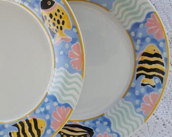 Set of 4 Vintage Princeton Studios Catalina 9130 Dinner Plates Tropical Fish Beach Sea Life