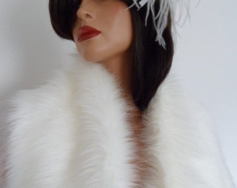 cream fur scarf, pale cream fur, collar, wrap, shrug, shawl