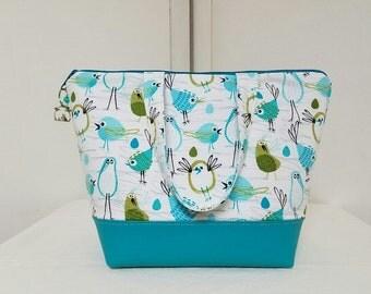 Insulated Lunch Bag, Vinyl Bottom,Birds Lunch Bag,Birds Lunch Box, Birds,Washable Lunch Bag,Nylon Liner with Inner Zipper Pocket